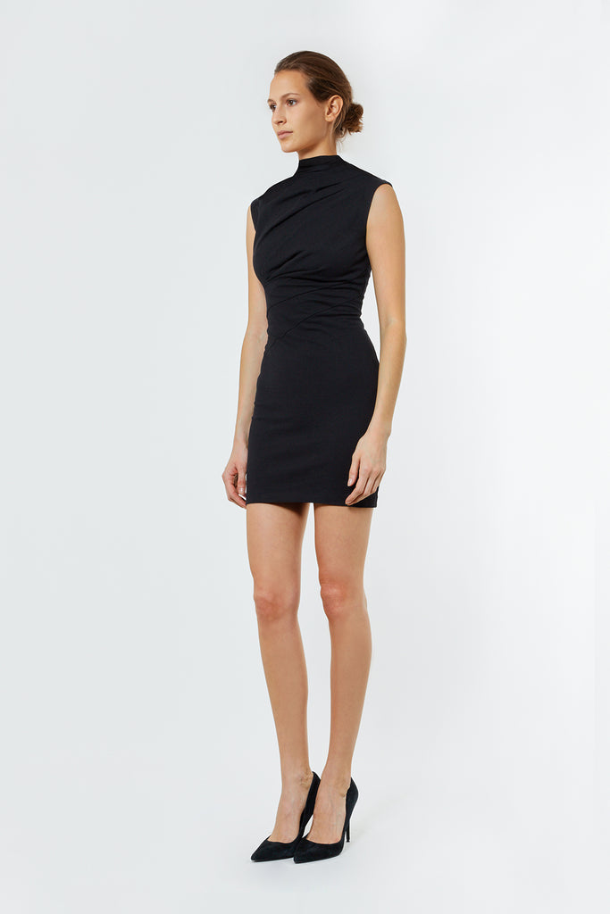 Black Jersey Asymmetrical Dress