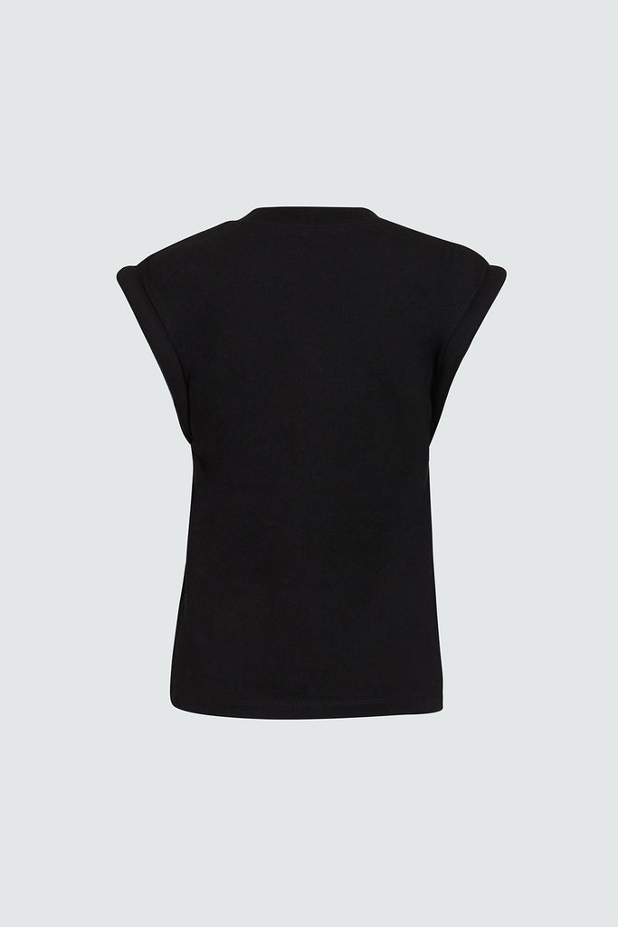 Black Cotton Sleeveless Tee