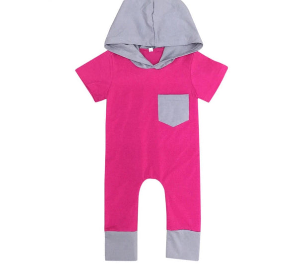 Pink Short Sleeve Hooded Romper