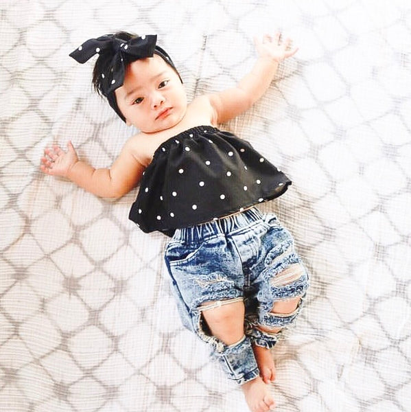 Denim Polka Dot Set