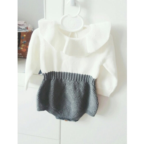 Knit Two Toned Ruffle Princess Romper