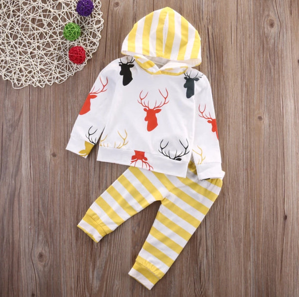 Yellow Striped Deer Hoodie Set