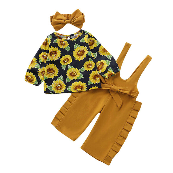Skylar Sunflower Overall Set