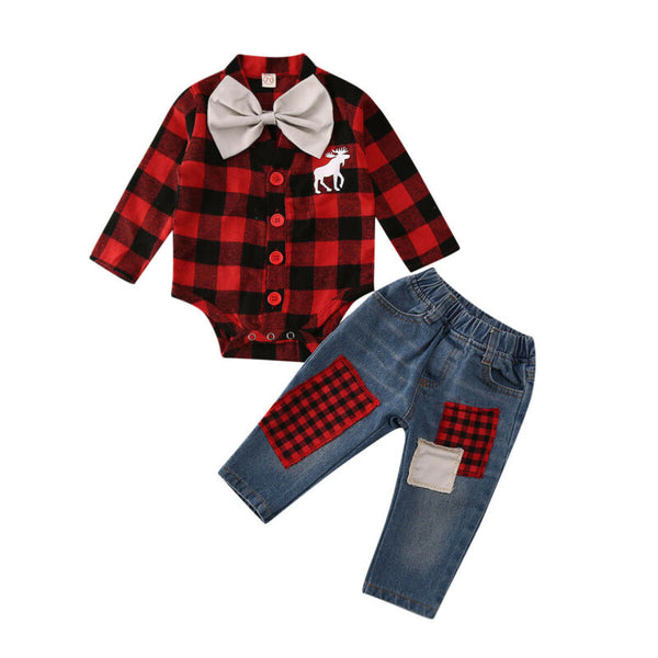 Moose Plaid Set