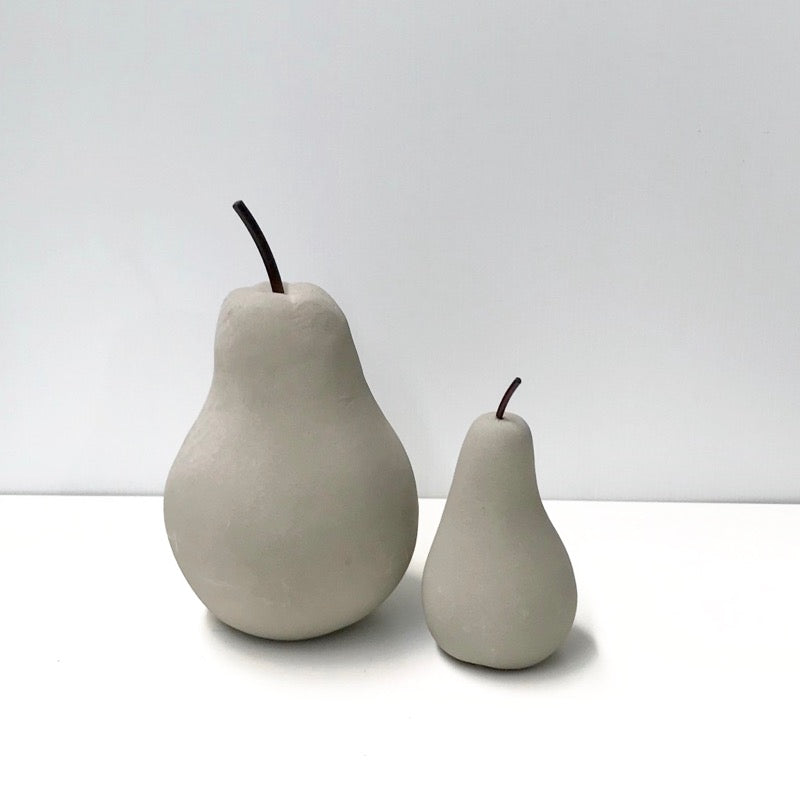 Pear Figurine Cement Set of 2