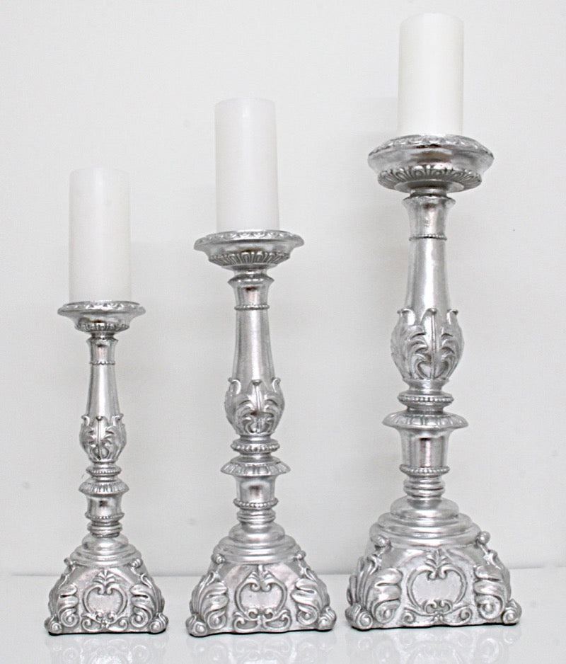 Candle Holder Silver Leaf