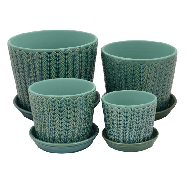 Embossed Leaf Pattern Planter Blue