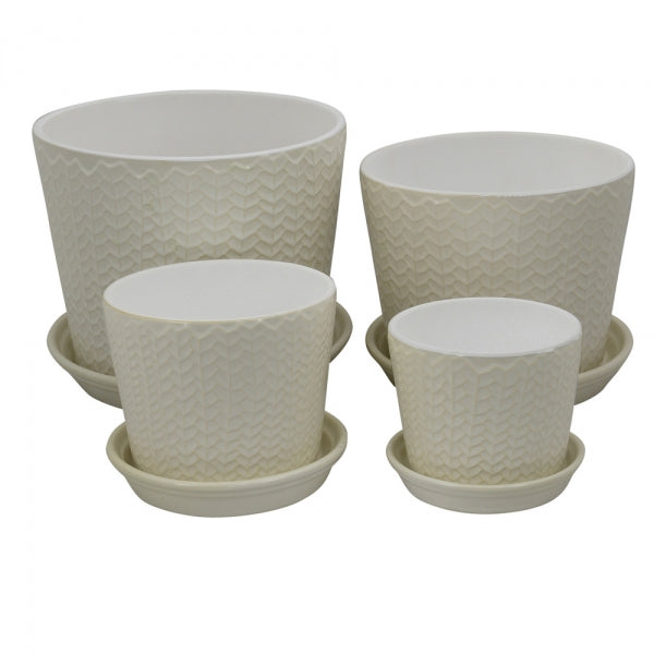 Embossed Leaf Pattern Planter White