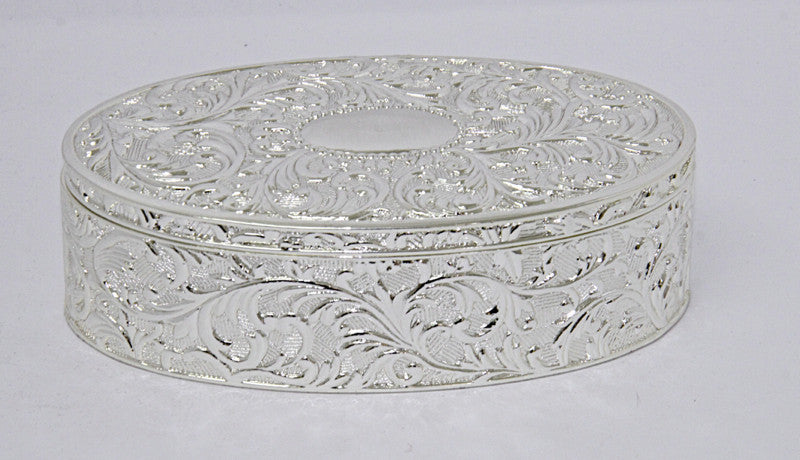 Decorative Box Shiny Sliver-Oval