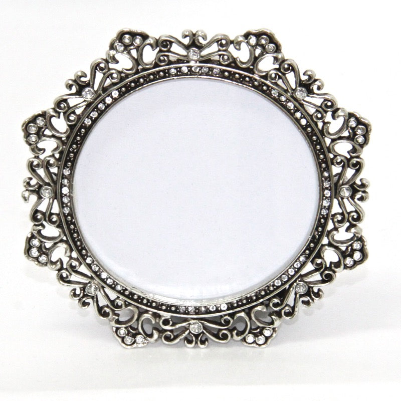 Photo Frame Brushed Silver Curls 3×3