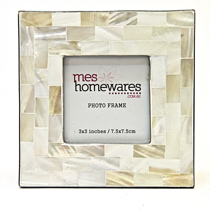 Photo Frame Silver Edge Mother of Pearl White 3×3
