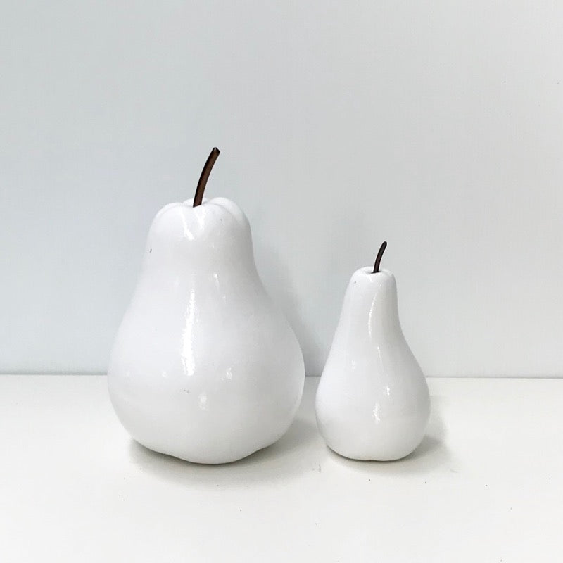 Pear Figurine White Set of 2