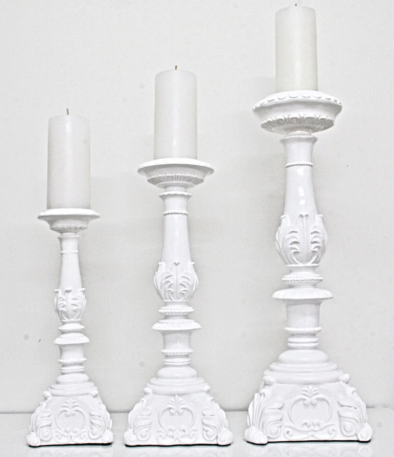 Candle Holder Glossy White