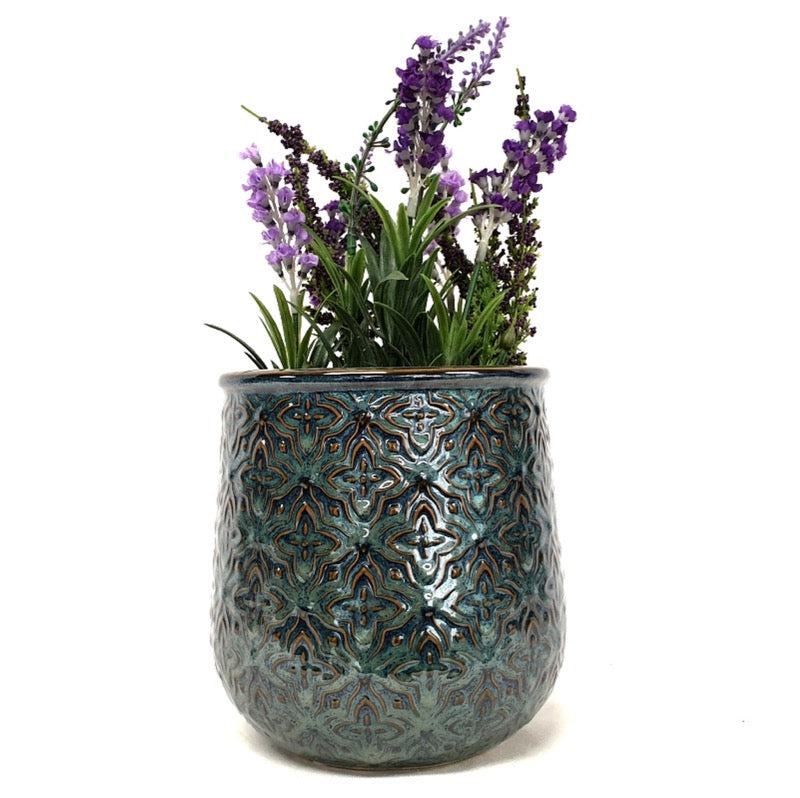 Green Embossed Pot