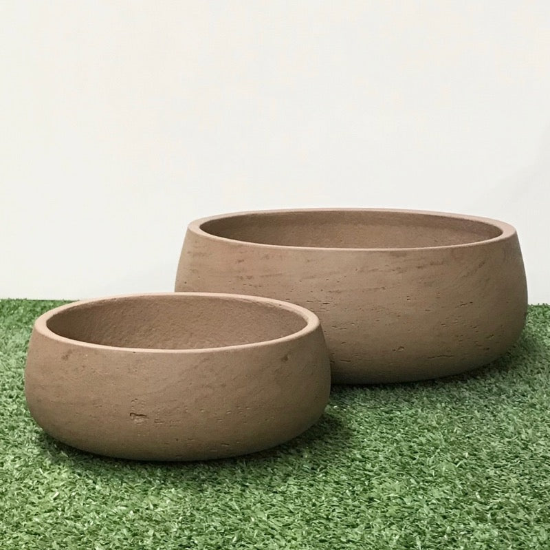Shallow Bowl Taupe Wash