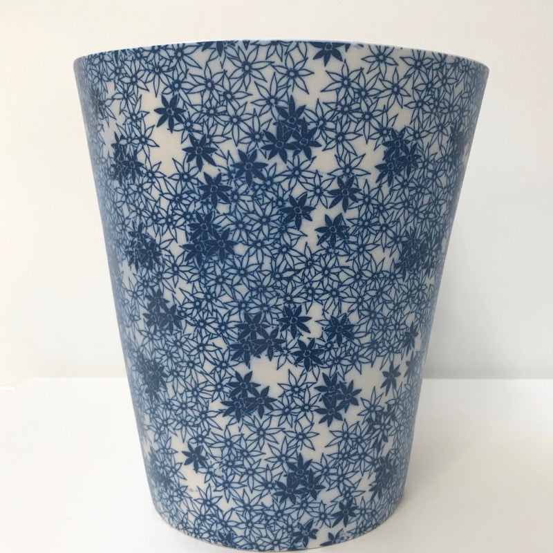 Large Porcelain White Planter with Blue Print