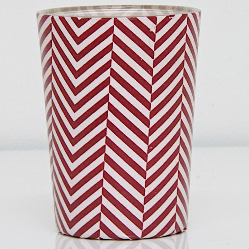 Tea Light holder Red Stripes Large