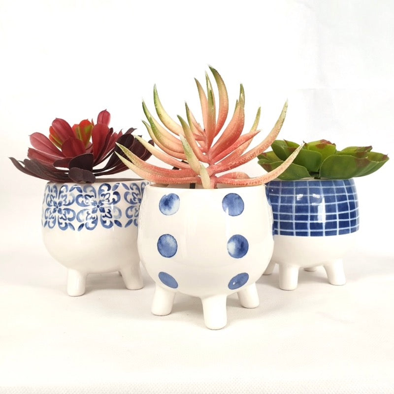 Blue & White Pots on Legs