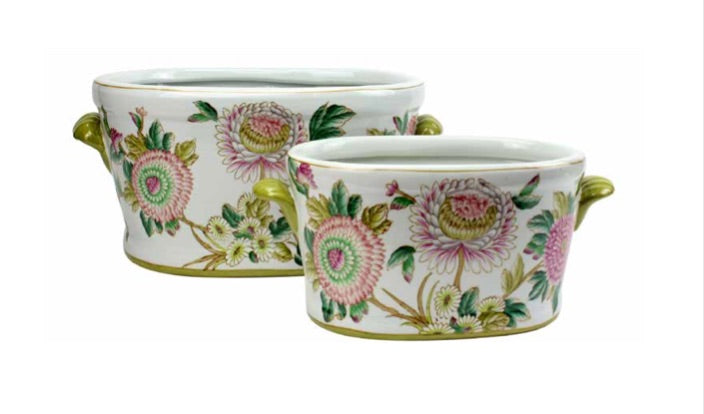 Oval Spring Flower Pots with Handles Small