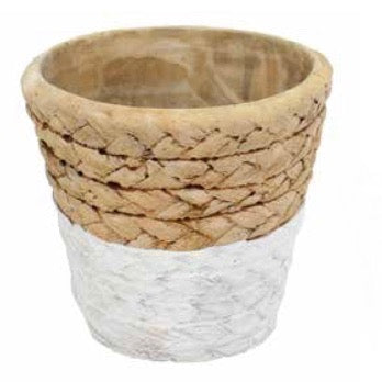 Tiny Beige and White Basket Weave Pot