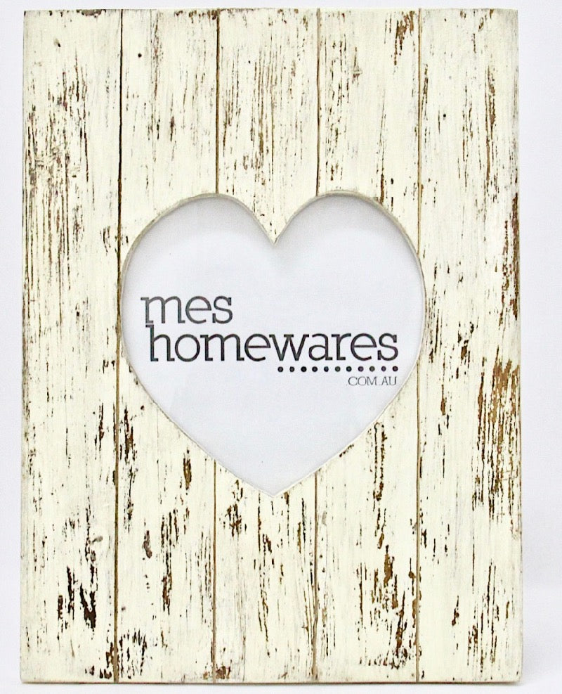 Photo Frame Wooden Heart Whitewash