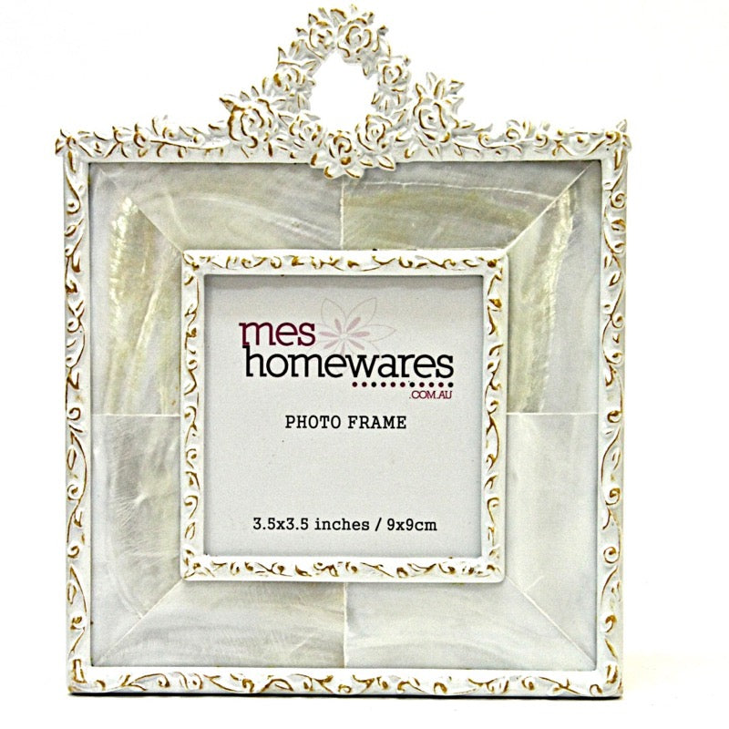 Photo Frame Rosette Mother of Pearl  White/Orange 3.5×3.5