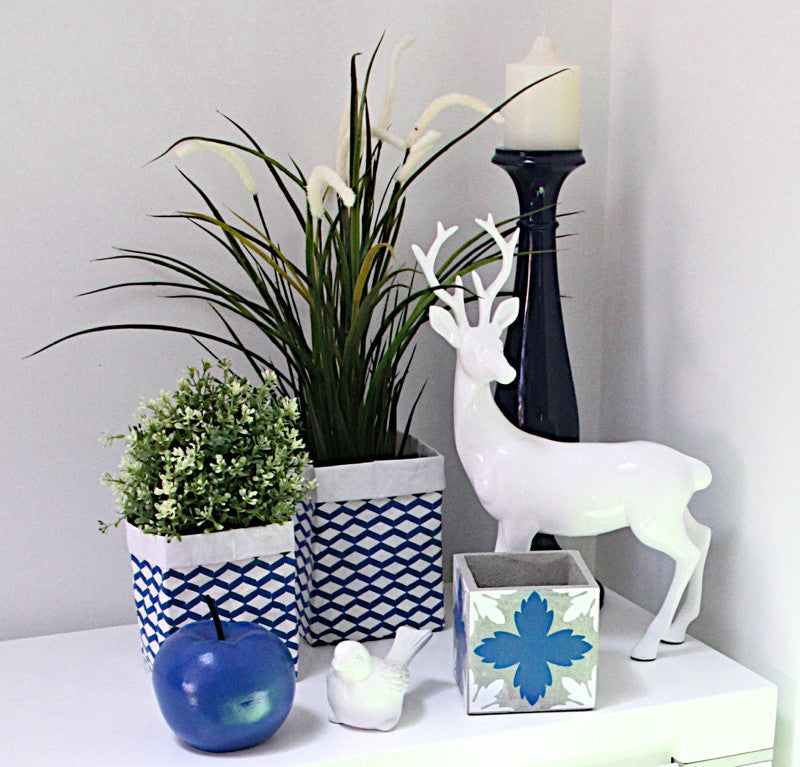 Cement Pot Blue & White