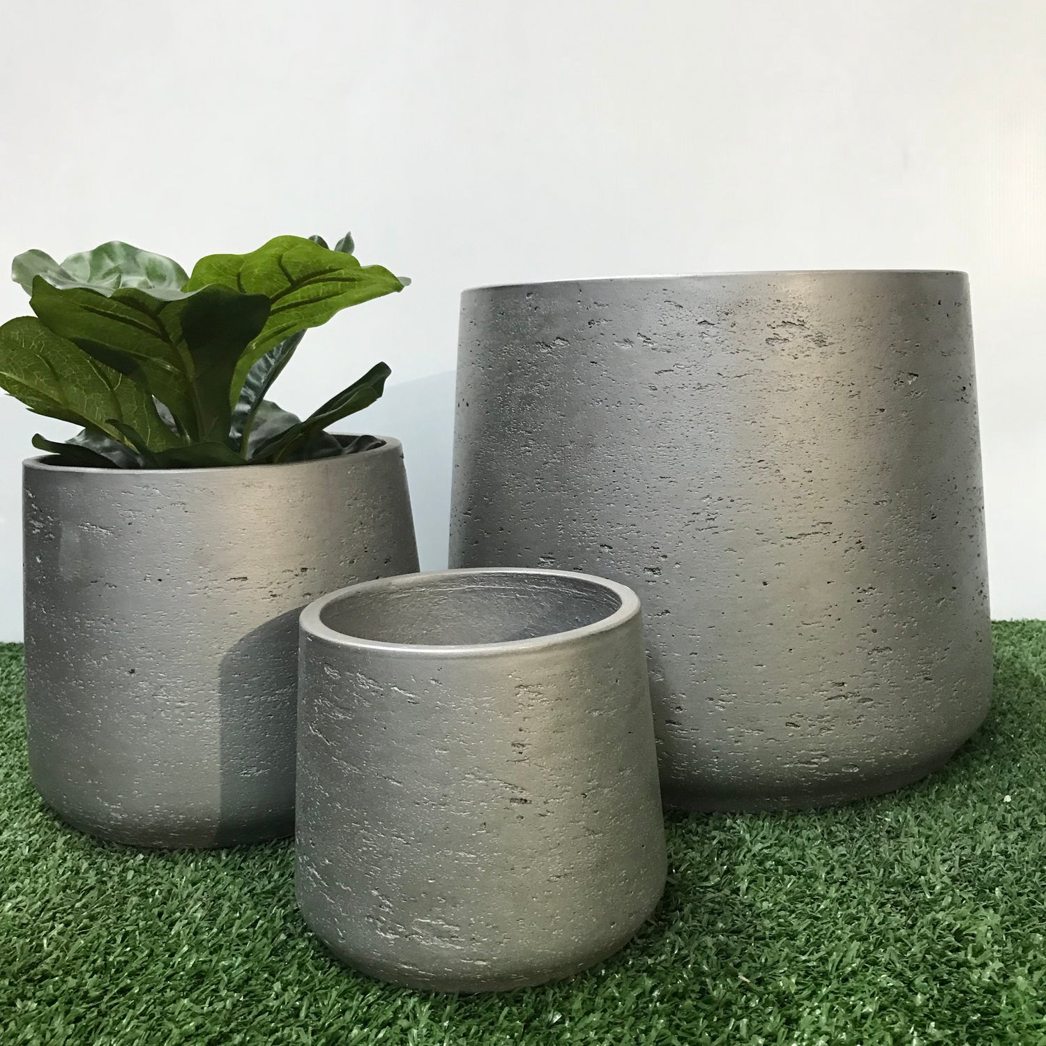 Squash Pot Metallic Silver
