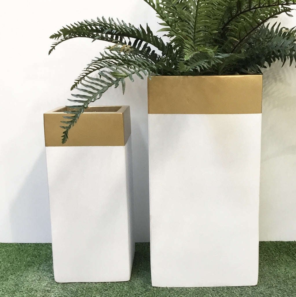 Tall Square Gold Top & White Pot