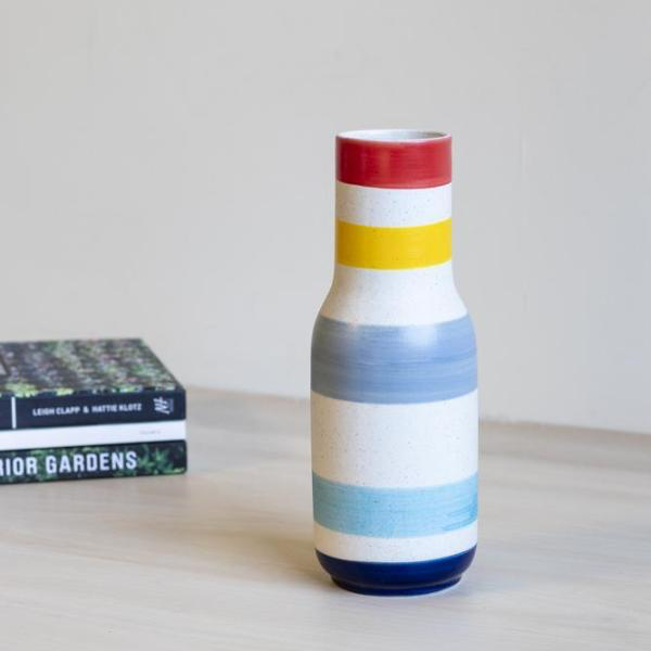 Stoneware Striped Vase