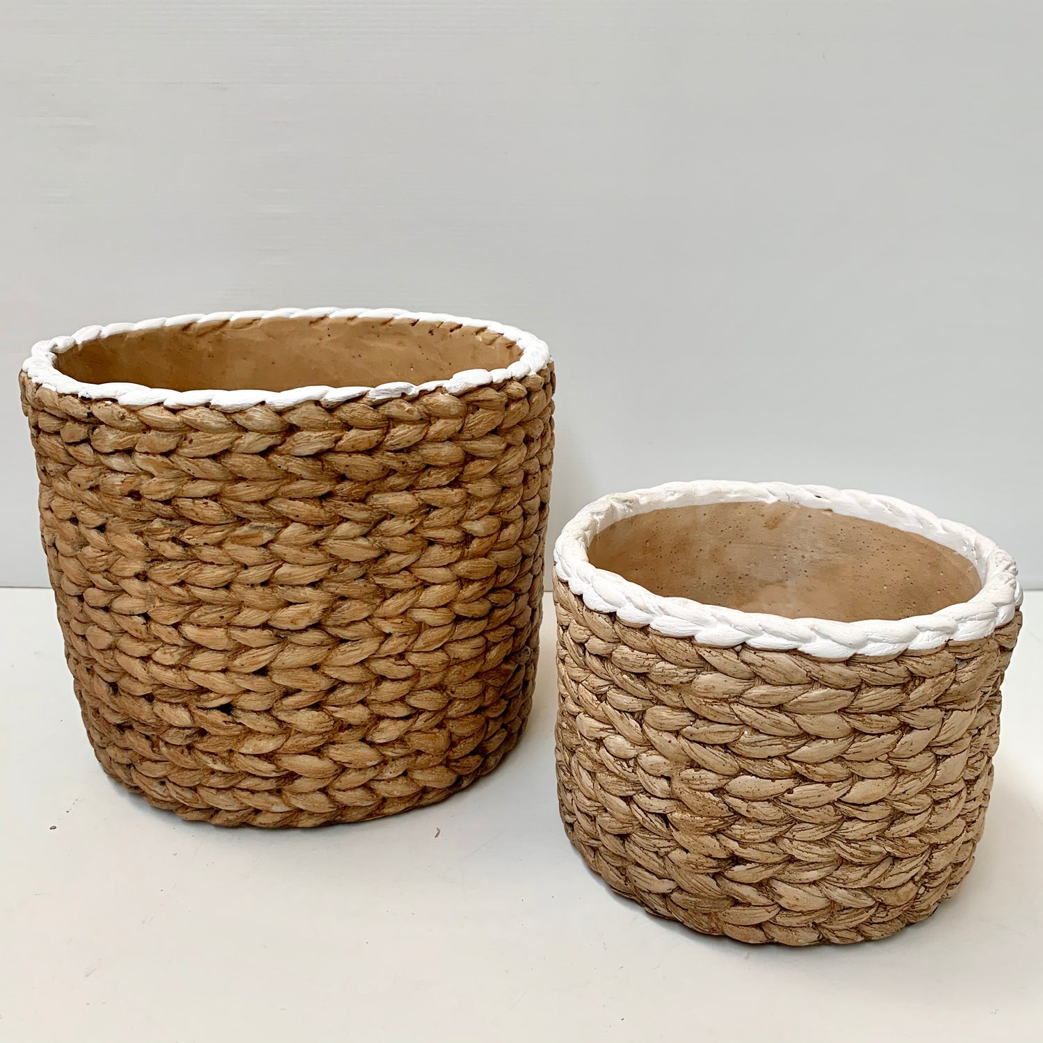 White Trim Basket Weave Pots