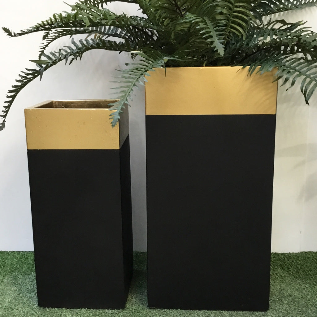 Tall Square - Gold Top & Black pot