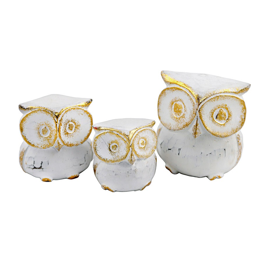 Hand-Carved Owls White & Gold Small
