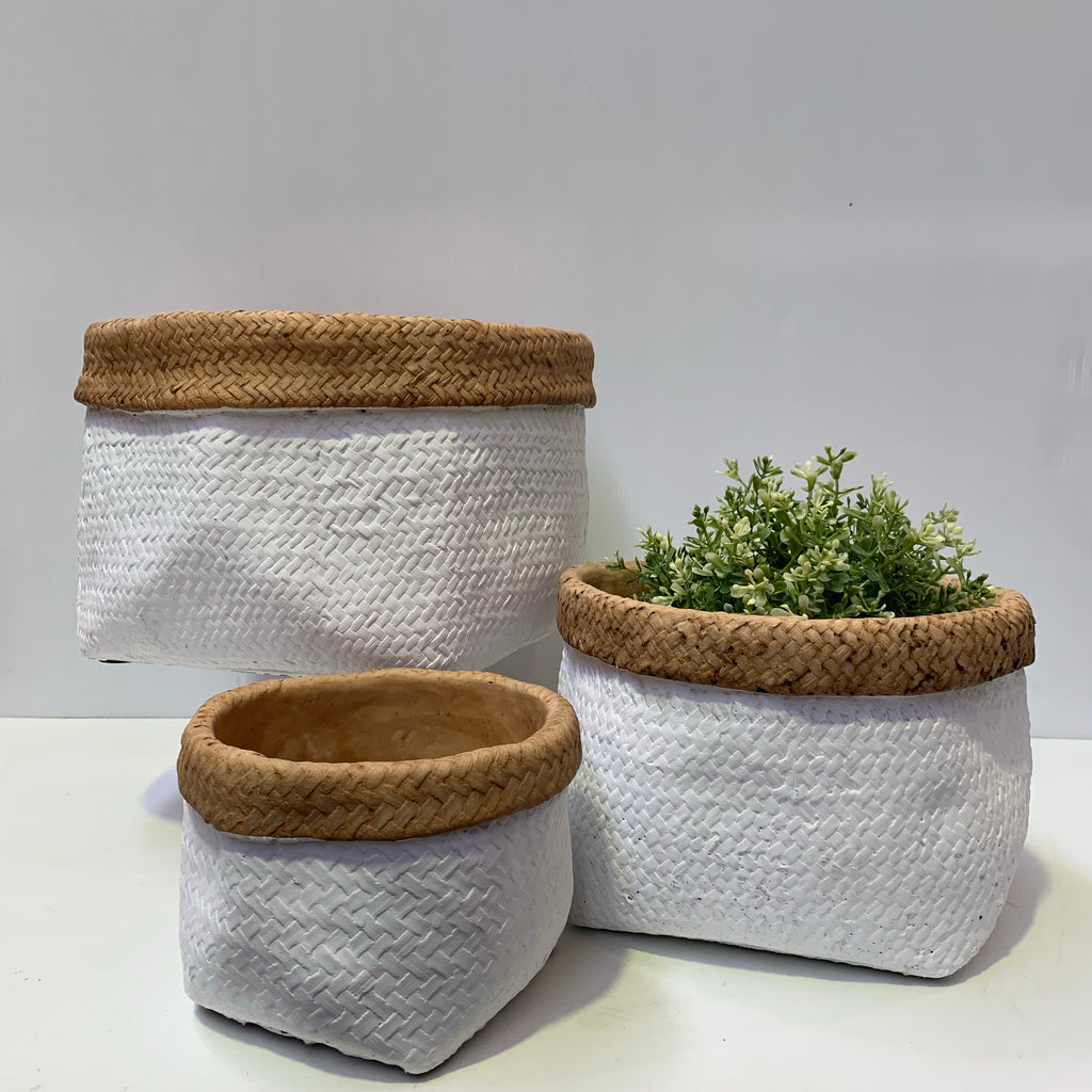 Two Toned Basket Weave Pots