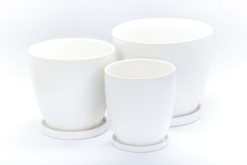 Large Matte White Pots