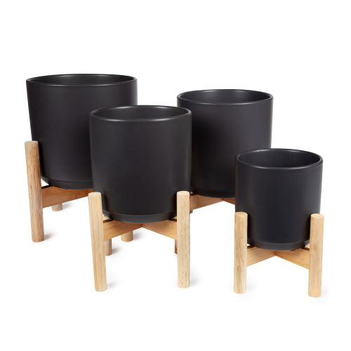 Flower Pot with Stand Matte Black