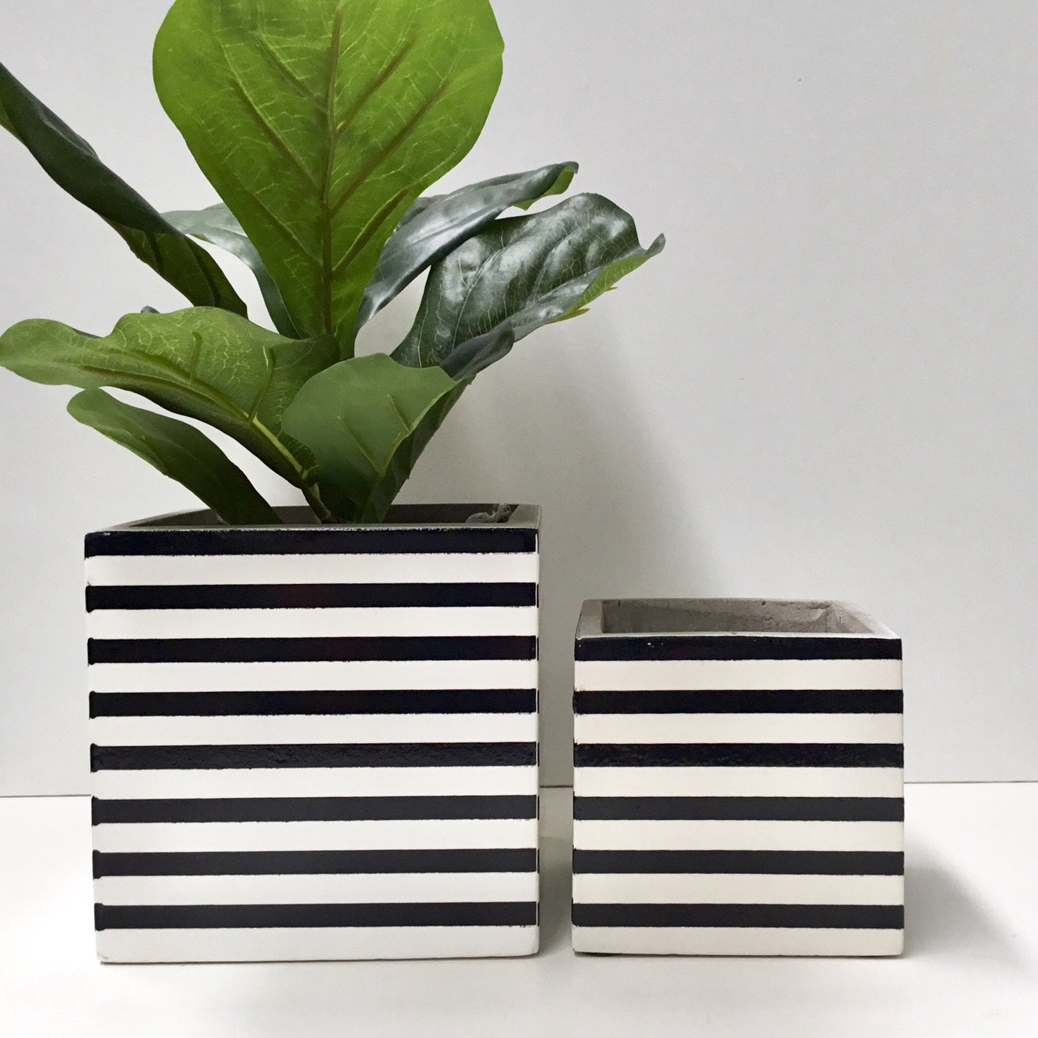Black and White Stripe cement box Set of 2