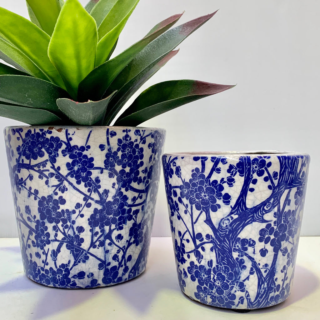 Rustic Round Pots - Blue Blooms
