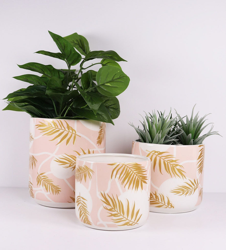 Palm Planter Pink & Gold