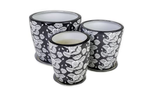 Large Black and White Floral Glazed Pots
