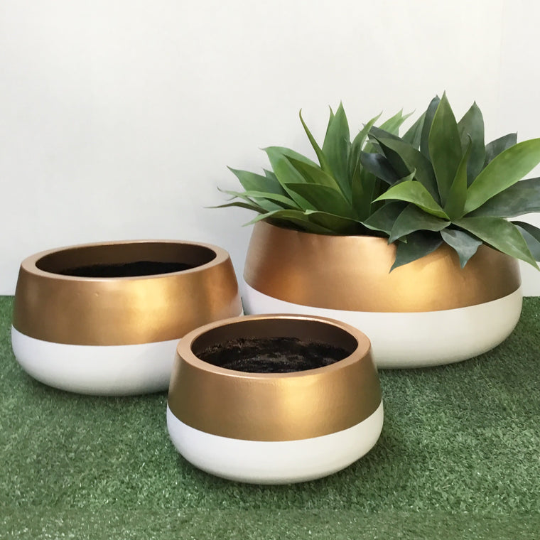 Shallow Planter Gold and White