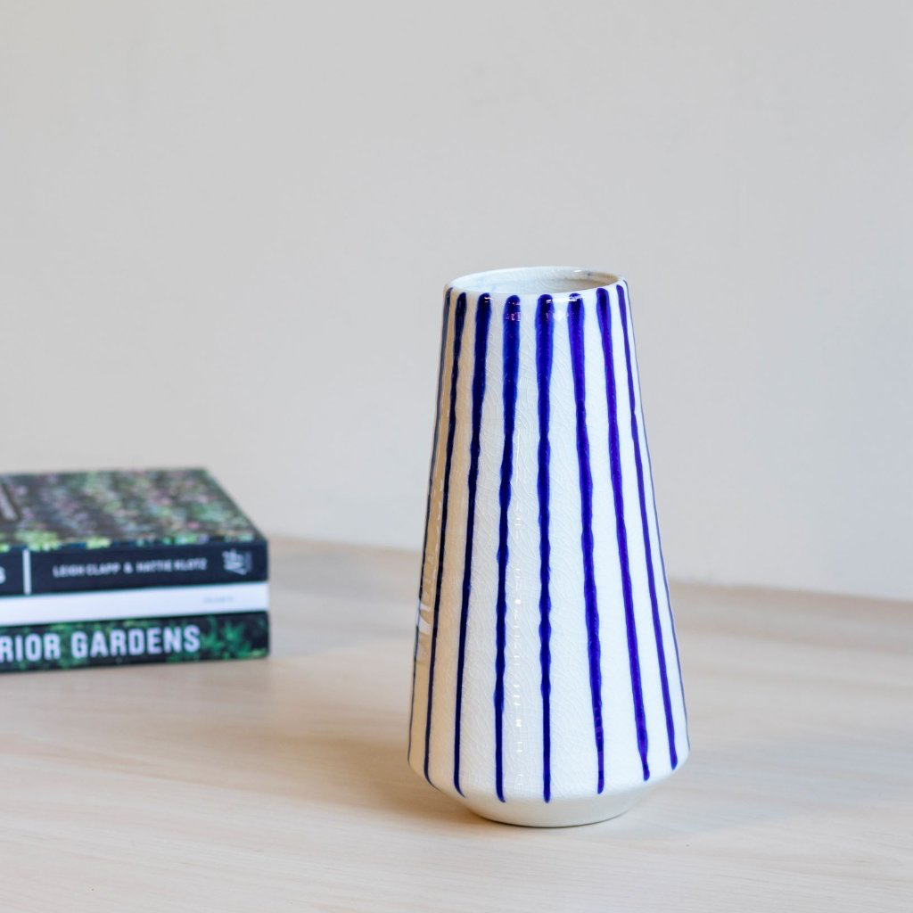 Stoneware Blue Striped Vase
