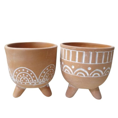 Lobo Ceramic Pots Terracotta and White
