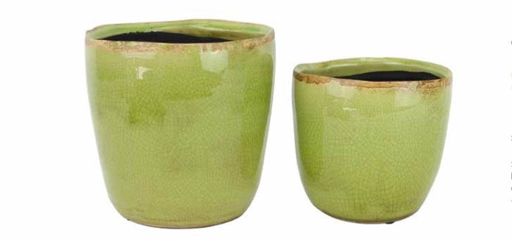 Tremargat Round Ceramic Pot -Green