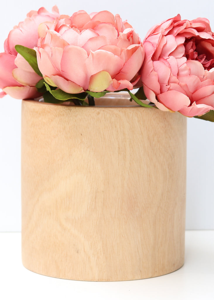 Wooden vase with Glass Insert