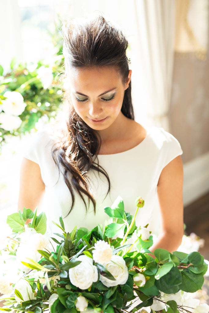 wedding artificial bouquet fake faux white and green classic everlasting modern uk