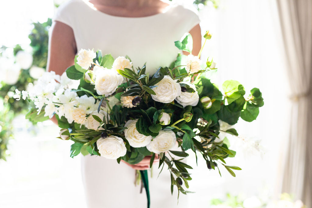 green and white flowers faux silk bride bouquet