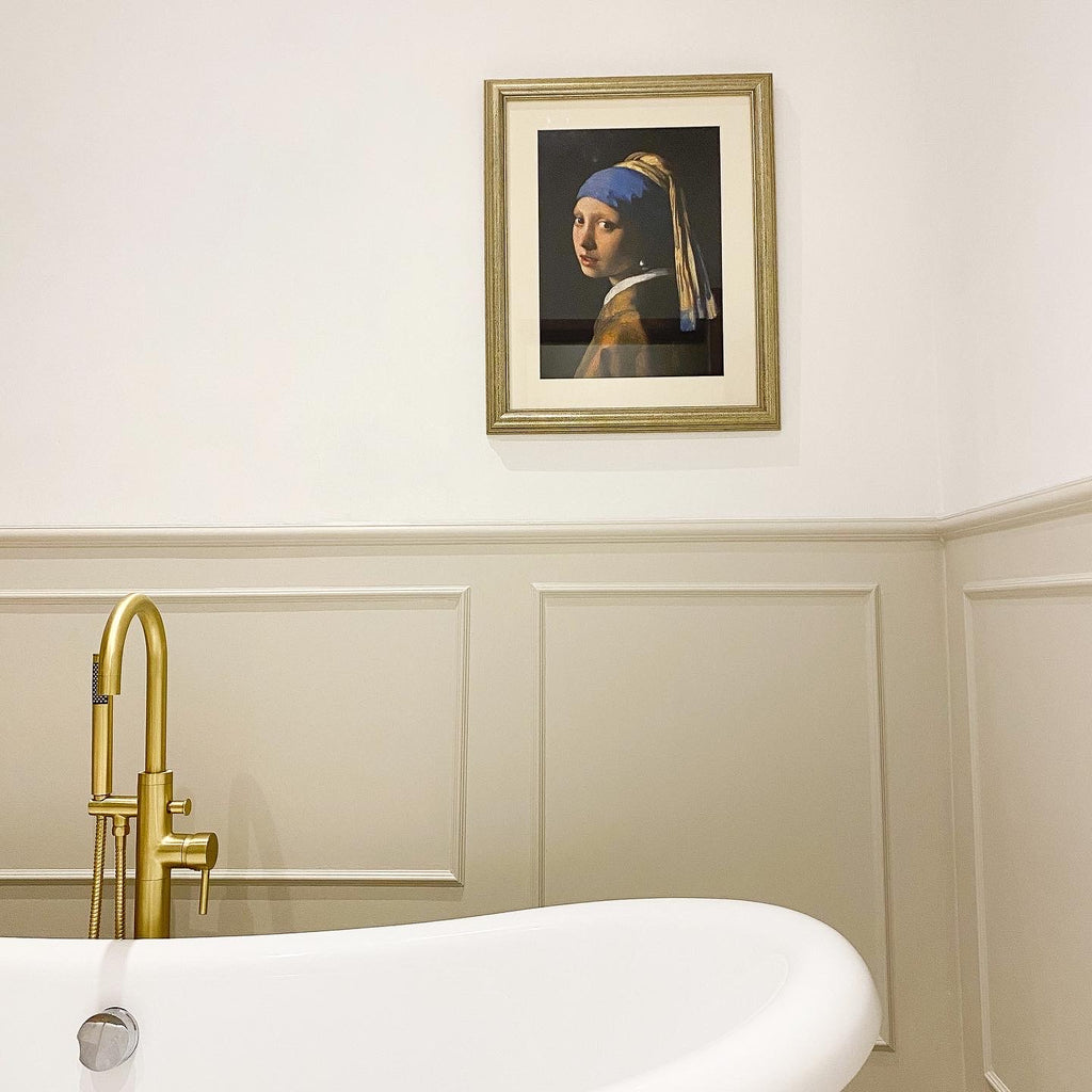 wall panelling bathroom house reno victorian painting girl with pearl earring gold taps dulux eygptian cotton