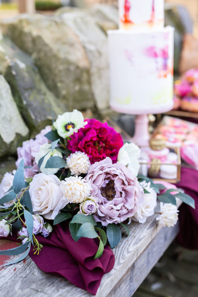 blossom barn wedding yorkshire artificial flowers vibrant colourful silk faux bouquet bride ideas inspiration cake