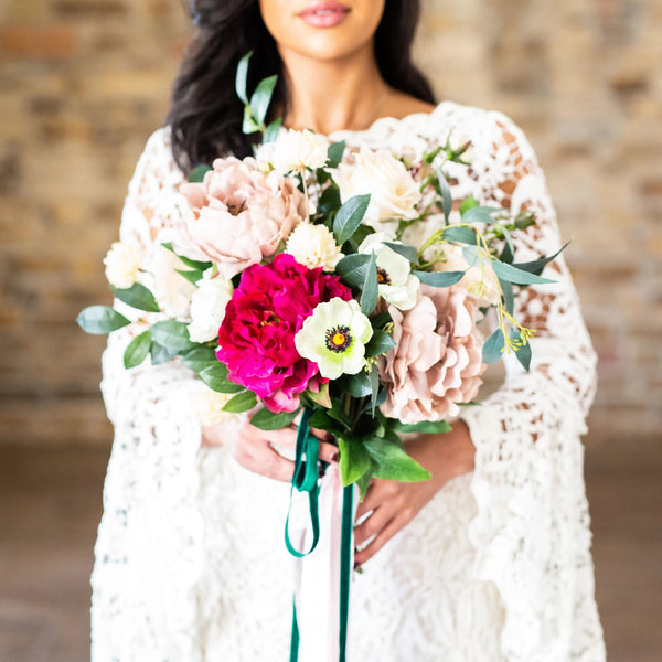 blossom barn wedding yorkshire artificial flowers vibrant colourful silk faux bouquet bride ideas inspiration
